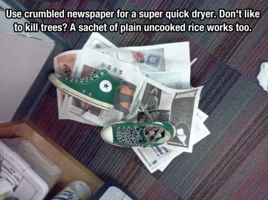 14. Dry Your Wet Shoes And Gloves With Newspaper