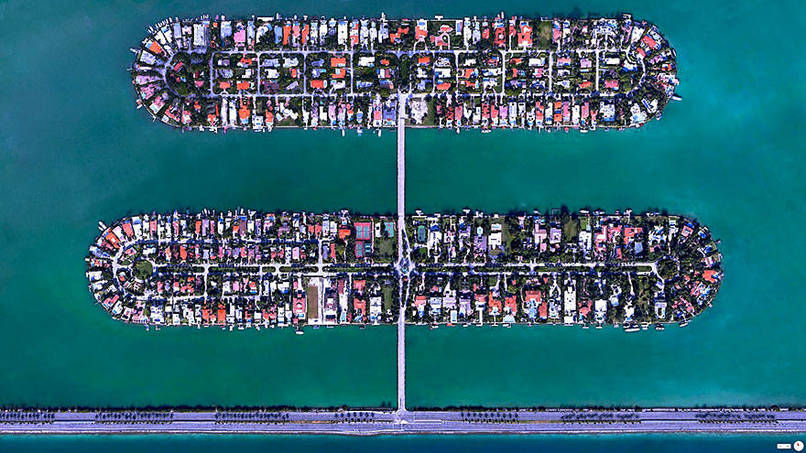 Palm Island - Hibiscus Island, Miami Beach, Florida, USA Satalite Images