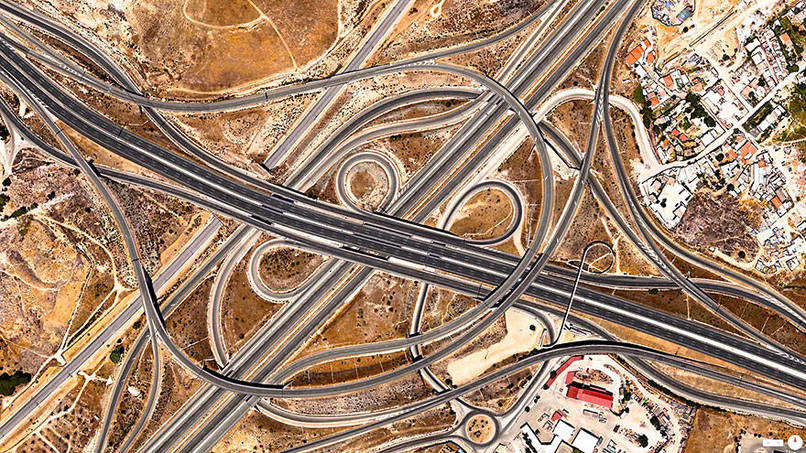 Spaghetti Junction (A-3 and M-50), Madrid, Spain Satalite Images