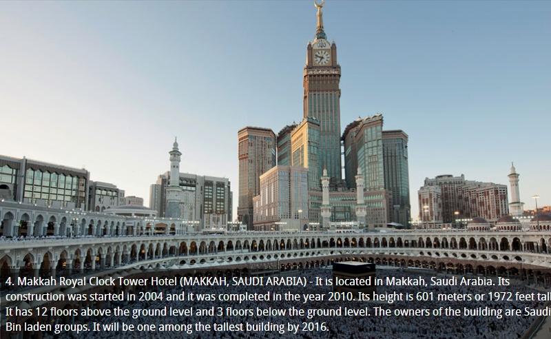4. Makkah Royal Clock Hotel Saudia Arabia