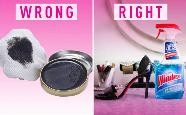 Shining patent leather shoes. Instead of buying shoe polish and stuffing it in the back of a drawer where you'll forget about it, use Windex!