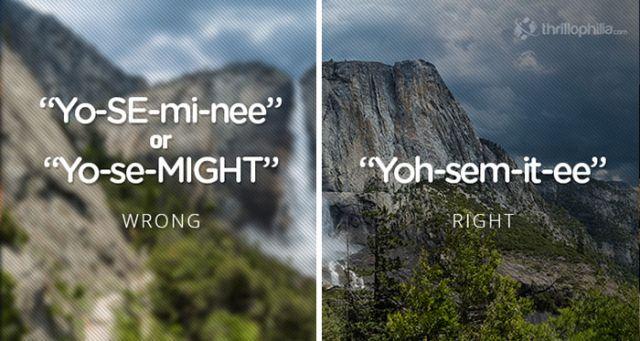 Yosemite Park, USA. Mispronouncing