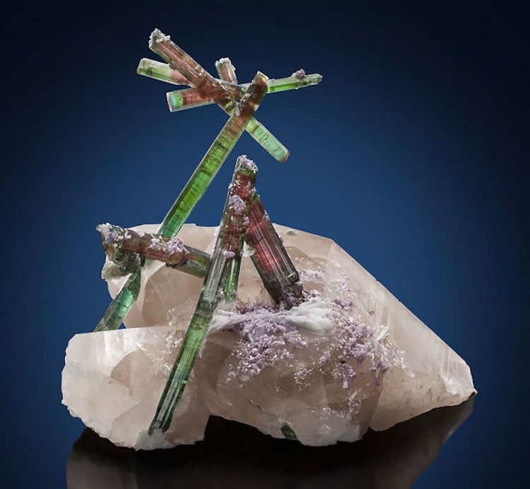 27. Tourmaline On Quartz With Lepidolite And Cleavelandite Accents