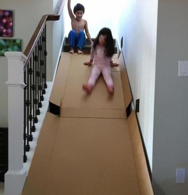 15. Make a stair slide.
