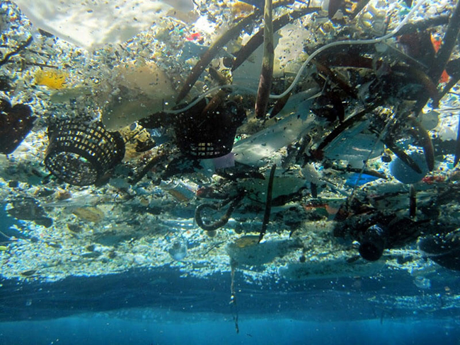 Floating waste to the surface of the ocean, blocking a large portion of the light