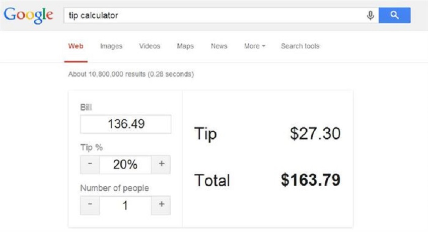 5. Calculate your tip and divide your bill