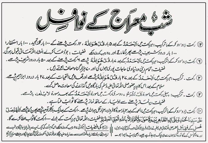 Shab-e-Mairaj-Nawafil